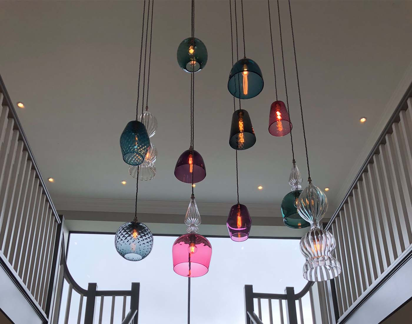 Image for Stunning cluster of bespoke pendant lights fitted