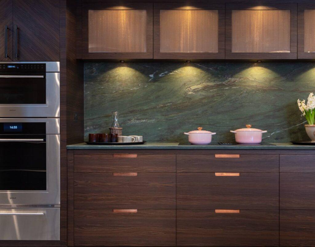 Kitchen with Green Marble Splashback