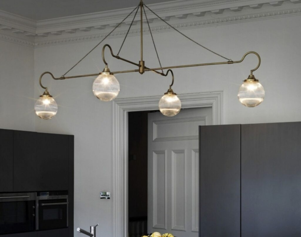 brass pendant statement lighting for kitchen